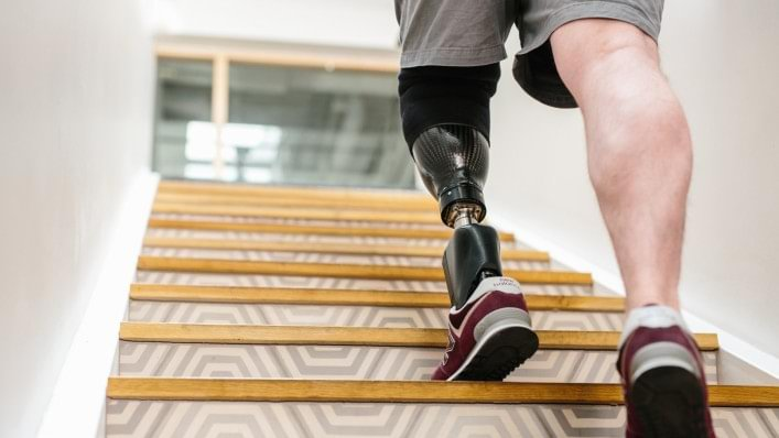 Rob ascending stairs with his Empower foot